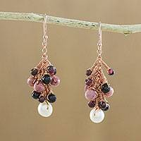 Rose gold accented multi-gemstone dangle earrings, 'Delightful Cluster' - Multi-Gemstone Dangle Earrings Crafted in Thailand