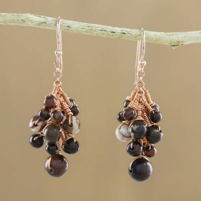 Rose gold accented tiger's eye and jasper dangle earrings, 'Delightful Cluster' - Tiger's Eye and Jasper Dangle Earrings from Thailand