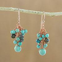 Serpentine and agate dangle earrings, 'Delightful Cluster' - Serpentine and Agate Dangle Earrings from Thailand