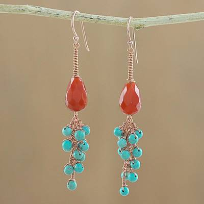 Carnelian and serpentine dangle earrings, 'Autumn Wind' - Carnelian and Serpentine Dangle Earrings from Thailand