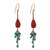 Carnelian and serpentine dangle earrings, 'Autumn Wind' - Carnelian and Serpentine Dangle Earrings from Thailand (image 2a) thumbail
