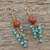 Carnelian and serpentine dangle earrings, 'Autumn Wind' - Carnelian and Serpentine Dangle Earrings from Thailand (image 2b) thumbail