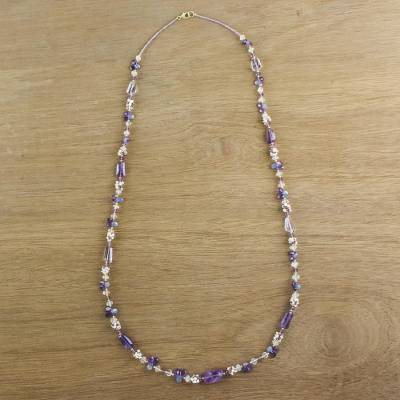 Gold accented multi-gemstone beaded necklace, 'Glittering Dream' - Multi-Gemstone Beaded Necklace in Purple from Thailand