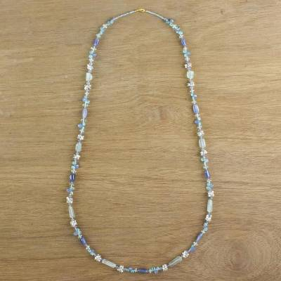Gold accented multi-gemstone beaded necklace, 'Oceanic Daydream' - Multi-Gemstone Beaded Necklace in Blue from Thailand