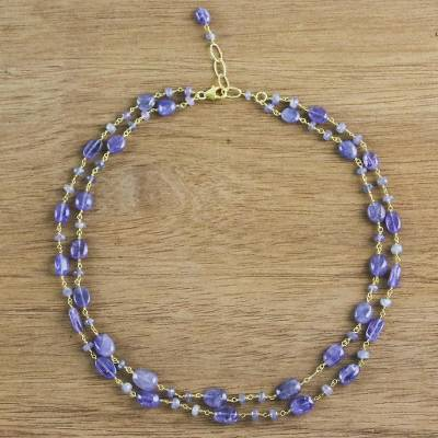Gold accented tanzanite link necklace, 'Marine Love' - Gold Plated Tanzanite Link Necklace from Thailand