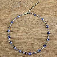 Gold plated tanzanite station necklace, 'Relaxing Season' - 18k Gold Plated Tanzanite Station Necklace from Thailand