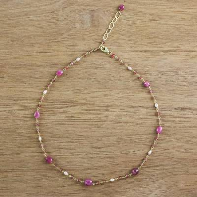 Gold plated ruby and cultured pearl station necklace, Relaxing Season