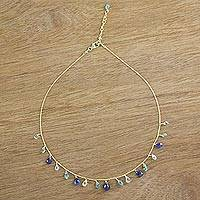 Gold plated multi-gemstone pendant necklace, 'Peaceful Earth' - 18k Gold Plated Multi-Gemstone Pendant Necklace in Blue