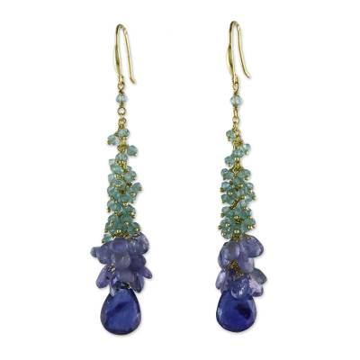 Apatite and Tanzanite Cluster Dangle Earrings from Thailand