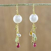 Gold plated multi-gemstone dangle earrings, 'Full Moon Rain' - Multi-Gem Dangle Earrings with Cultured Pearl from Thailand