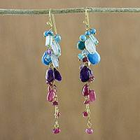 Gold plated multi-gemstone dangle earrings, 'Berry Sky' - Gold Plated Multi-Gem Dangle Earrings from Thailand