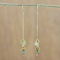 Gold plated tourmaline and prehnite dangle earrings, 'Little Rainbow' - Gold Plated Tourmaline and Prehnite Dangle Earrings