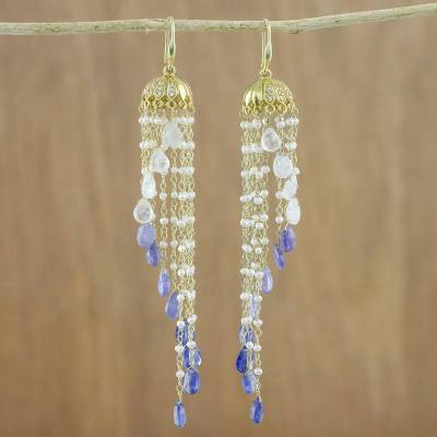 Gold plated multi-gemstone waterfall earrings, 'Happy Rain' - 18k Gold Plated Multi-Gem Waterfall Earrings from Thailand