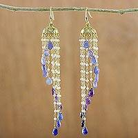 Gold plated multi-gemstone waterfall earrings, 'Happy Blue Rain' - Gold Plated Multi-Gemstone Waterfall Earrings from Thailand