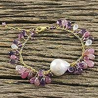 Gold plated multi-gemstone charm bracelet, 'Violet Sea' - Multi-Gemstone Charm Pendant Bracelet from Thailand