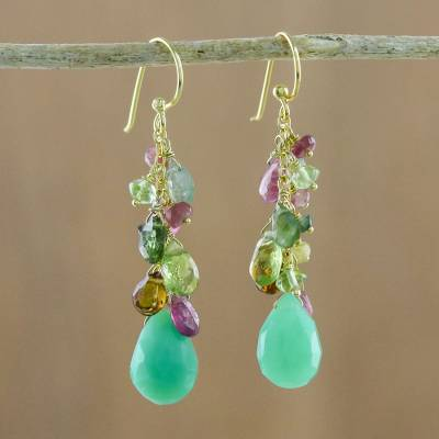 Gold plated multi-gemstone dangle earrings, 'Verdant Shower' - Gold Plated Green Multi-Gem Dangle Earrings from Thailand