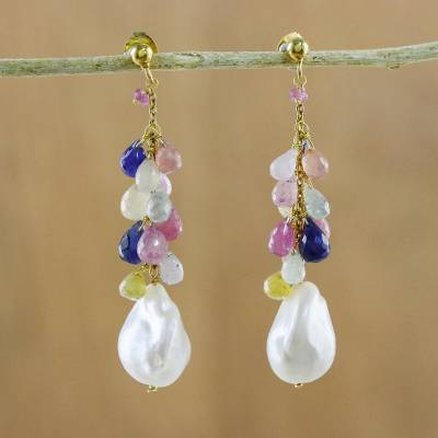 Gold plated multi-gemstone dangle earrings, 'Color of the Sea' - Colorful Multi-Gem Dangle Earrings from Thailand