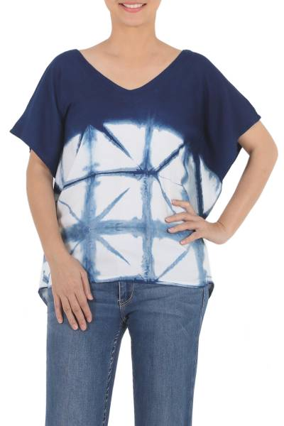 Tie-dyed cotton blouse, 'Sunlit Window' - Indigo White Geometric Tie-Dye Short Sleeve Cotton Blouse