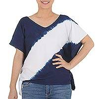 Cotton short sleeve blouse, 'Soar' - Indigo Diagonal Stripe Tie-Dye Short Sleeve Cotton Blouse