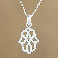 Sterling silver pendant necklace, 'Beautiful Symmetry' - Modern Floral Motif Sterling Silver Pendant Necklace