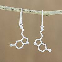 Sterling silver dangle earrings, 'Serotonin' - Sterling Silver Modern Double Hexagon Dangle Earrings