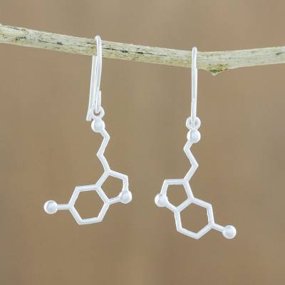 Sterling silver dangle earrings, Serotonin
