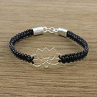 Sterling silver and leather pendant bracelet, 'Lotus Strength in Black' - Sterling Silver Lotus Pendant Black Leather Bracelet