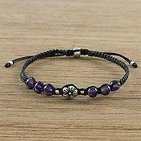 Amethyst beaded bracelet, 'Calm and Tranquil' - Floral Amethyst and Karen Silver Beaded Bracelet