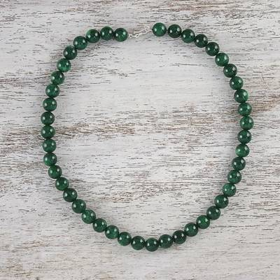 Quartz beaded necklace, 'Jungle Strand' - Green Quartz Beaded Necklace from Thailand