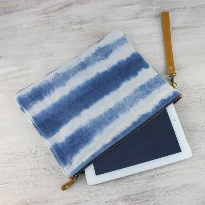 Leather accented tie-dyed cotton clutch, 'Sky Stripes' - Tie-Dyed Striped Cotton Wristlet in Blue from Thailand