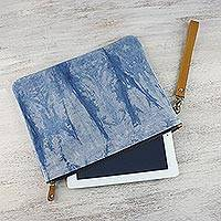 Leather accent tie-dyed cotton wristlet, 'Blue Trees' - Tie-Dyed Leather Accent Cotton Wristlet from Thailand