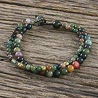 Agate beaded bracelet, 'Double Beauty' - Adjustable Agate Beaded Bracelet from Thailand