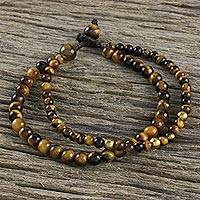 Tiger's eye beaded bracelet, 'Double Beauty' - Adjustable Tiger's Eye Beaded Bracelet from Thailand