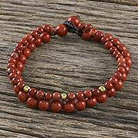 Jasper beaded bracelet, 'Double Beauty' - Adjustable Jasper Beaded Bracelet from Thailand