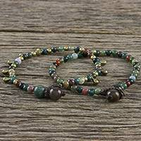 Agate beaded bracelets, 'Beautiful Forever' (pair) - Agate Beaded Bracelets from Thailand (Pair)