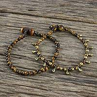 Tiger's eye beaded bracelets, 'Beautiful Forever' (pair) - Tiger's Eye Beaded Bracelets from Thailand (Pair)