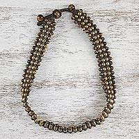 Tiger's eye beaded macrame necklace, 'Boho Gala' - Tiger's Eye Beaded Macrame Necklace from Thailand