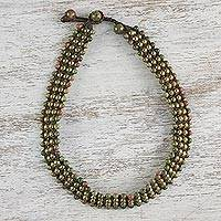 Unakite beaded choker necklace, 'Boho Gala' - Unakite Beaded Choker Necklace from Thailand