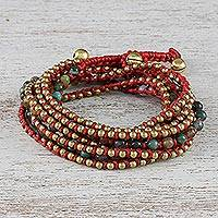 Agate beaded wrap bracelet,