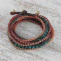 Serpentine beaded wrap bracelet, 'Boho Holiday' - Boho Serpentine Beaded Wrap Bracelet from Thailand