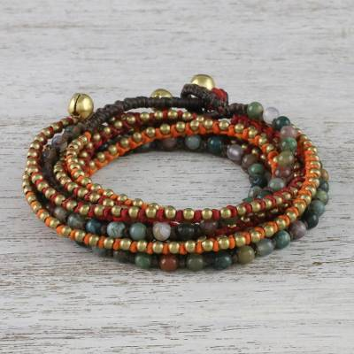 Agate beaded wrap bracelet, 'Boho Holiday' - Boho Agate Beaded Wrap Bracelet