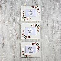 Saa paper photo frames, 'Rosy Memories' (4x6) (set of 3) - Rose Motif Saa Paper Photo Frames (4x6) (Set of 3)