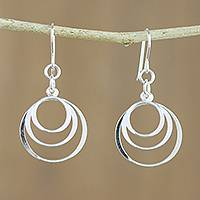 Sterling silver dangle earrings, 'Crescent Rings' - Sterling Silver Crescent Ring Earrings from Thailand