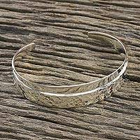Sterling silver cuff bracelet, 'Lovely Vacation' - Combination Finish Sterling Silver Cuff Bracelet