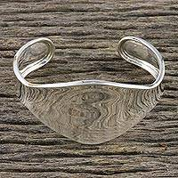 Sterling silver cuff bracelet, 'Shining Dimension' - Shining Sterling Silver Cuff Bracelet from Thailand