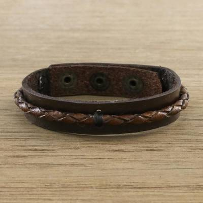 Leather wristband bracelet, Tenacious Nature in Brown