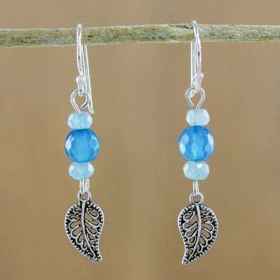 Aquamarine and amazonite beaded dangle earrings, 'Candy Forest' - Aquamarine and Amazonite Leaf Earrings from Thailand