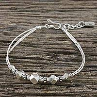 Silver and sterling silver beaded bracelet, 'Karen Adventure' - Karen Silver Beaded Pendant Bracelet from Thailand