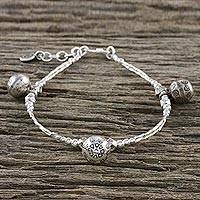 Silver beaded charm bracelet, 'Hill Tribe Melody' - Karen Silver Beaded Bell Charm Bracelet from Thailand