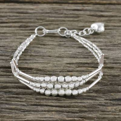 Silver beaded bracelet, 'Amazing Orbs' - Karen Silver Beaded Bracelet from Thailand